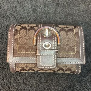 Coach Small Canvas Leather Trifold Wallet